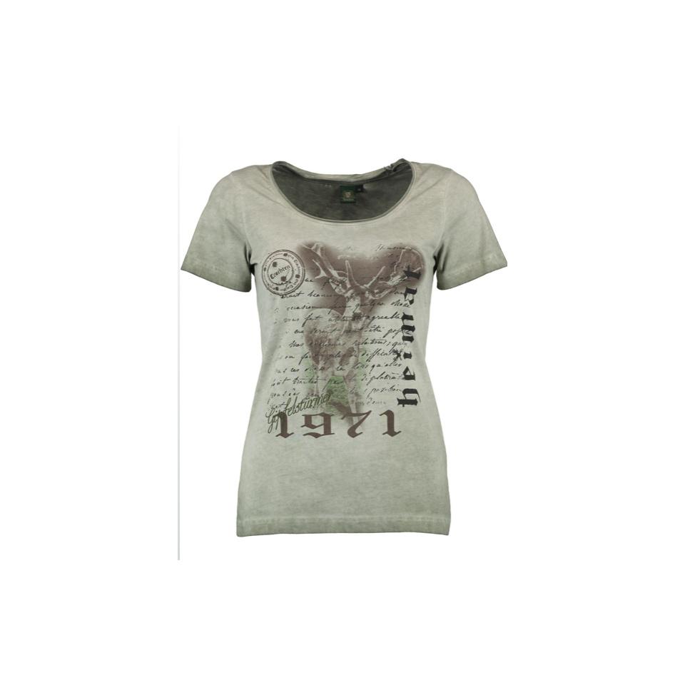 OS-TRACHTEN Damen T-Shirt Halbarm Rundhals mit Hirschdruck