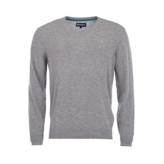 BARBOUR Essential Lambswool V-Neck Grey Marl