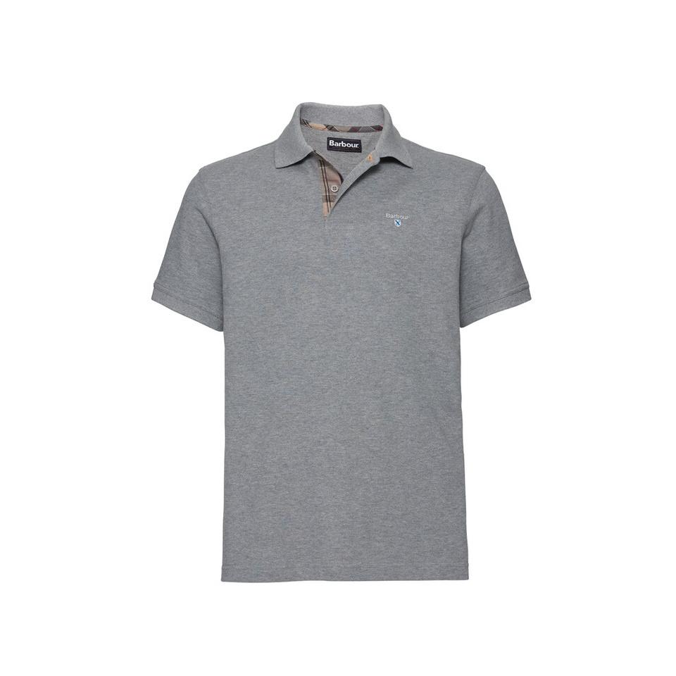 BARBOUR Tartan Pique Polo Shirt Grey Marl
