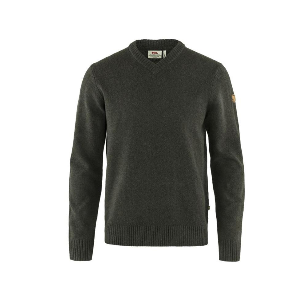 FJÄLLRÄVEN Pullover Övik V Sweater Dark Olive